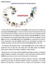 English Worksheet: Inventions: LANDMARK INVENTIONS OF THE MILLENNIUM (KEY)