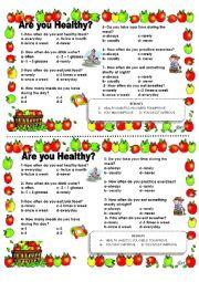 HEALTH HABITS - QUIZ