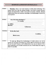 English Worksheet: Writing ADVANTAGES and DISADVANTAGES essays