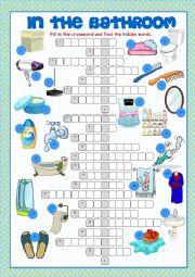 English Worksheet: Bathroom Crossword Puzzle