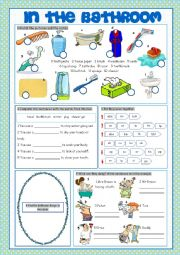 English Worksheet: Bathroom (Vocabulary Exercises)