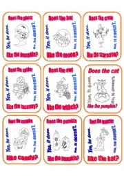 English Worksheet: Go Fish Game - Does he/it like ?