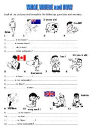 English Worksheet: What, where and how