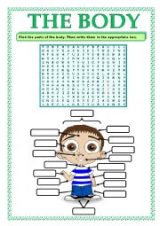 English Worksheet: PARTS OF THE BODY_WORD SEARCH