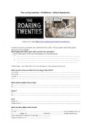 English Worksheet: Roaring twenties Prohibition depression