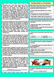 English Worksheet: Teenagers & fashion (+ key)