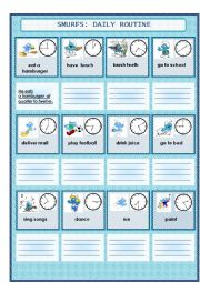 English Worksheet: daily routine with smurfs