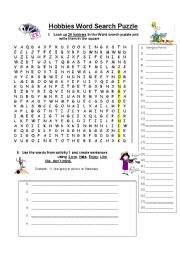 Hobbies word Search Puzzle