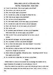 English Worksheet: Much, many, a lot of, a little and a few- Role Play