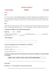 English Worksheet: lesson13 first year A DIARY