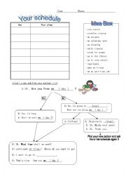 English Worksheet: When are you free?