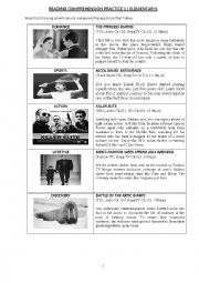 English Worksheet: READING COMPREHENSION AND INFORMATION TRANSFER  PRACTICE
