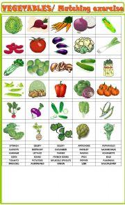 English Worksheet: Vegetables:Matching exercise