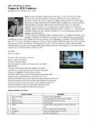 English Worksheet: Understanding poem- Nature by H.D. CARBERRY