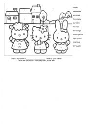 English Worksheet: Hello Kitty Colors and Numbers