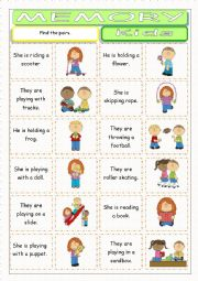 English Worksheet: Kids Memory Game