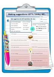 English Worksheet: Making suggestions: Let�s & Shall
