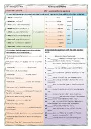 English Worksheet: wh-questions  / yes - no  questions review