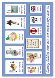 English Worksheet: Classroom rules poster