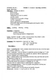 English Worksheet: Module 4 lesson 3 :Sporting activities 8th form
