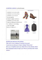 English Worksheet: CLOTHES (a poem + a pictionary)