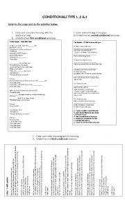English Worksheet: Conditionals 1, 2 & 3 Songs