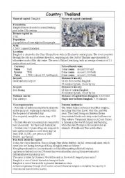 English Worksheet: Asean Capitols Fact Finding