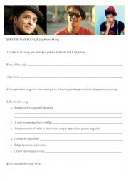 English Worksheet: Bruno Mars - Just the way you are