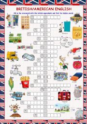 English Worksheet: British/American English Crossword Puzzle