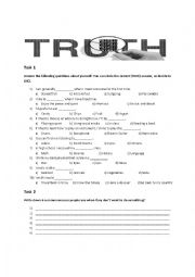 English Worksheet: Honesty: Truth and Lies