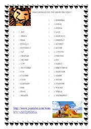 English Worksheet: Animals - The Lion King Movie