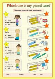 English Worksheet: Match the kids with their pencil cases