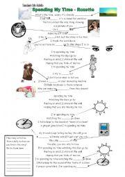 English worksheet: Daily Routine Song worksheet