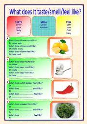 English Worksheet: taste smell feel
