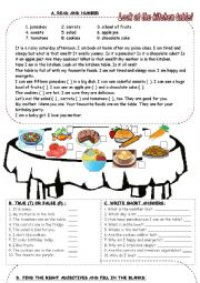 English Worksheet: food, adjective, how many, weather, birthday, to be