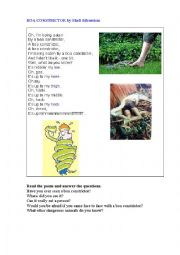 English Worksheet: BOA CONSTRICTOR (a poem)