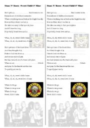 English Worksheet: Guns N´ Roses - Sweet Child O´ Mine