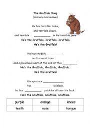 English Worksheet: the gruffalo song