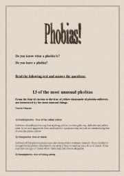 English worksheet: 13 of the most unusual phobias, conversation and reading comprehension.