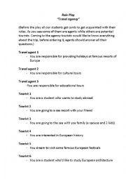 English Worksheet: At a travel agency