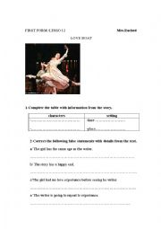 English Worksheet: love boat/ first year