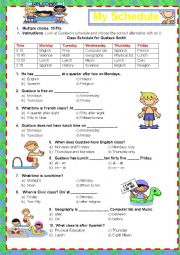 English Worksheet: School Schedule and Prepositions (in- on-at)