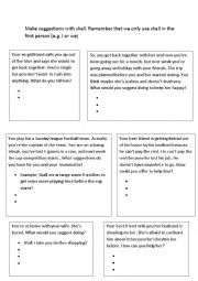 English Worksheet: Using shall to make suggestions (part 2)