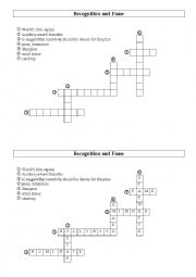 English Worksheet: Recognition and fame - crosswords