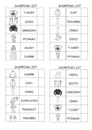 English Worksheet: Clothes Shopping List 2