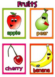 English Worksheet: Fruit FLASHCARDS (1-4)