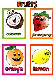 English Worksheet: Fruit FLASHCARDS (2-4)