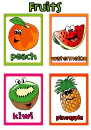 English Worksheet: Fruit FLASHCARDS (3-4)