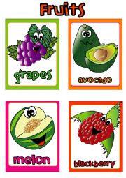 English Worksheet: Fruit FLASHCARDS (4-4)