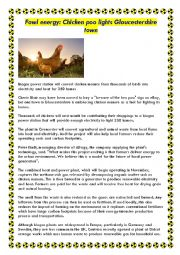 English Worksheet: New source of energy - fowl energy